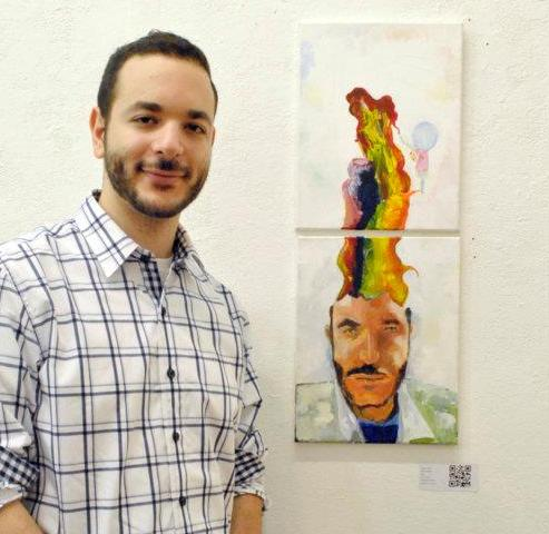 Art Lab Teen and Young Artist Instructor, Imam Asad and one his works.