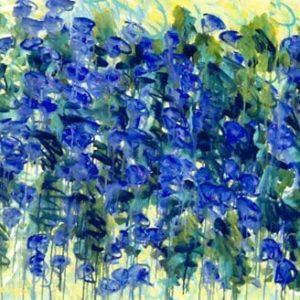 purple flowers, oil on canvas 30x40 1996
