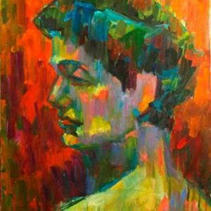portrait painting study in impressionism style, oil on canvas 24x30 1996