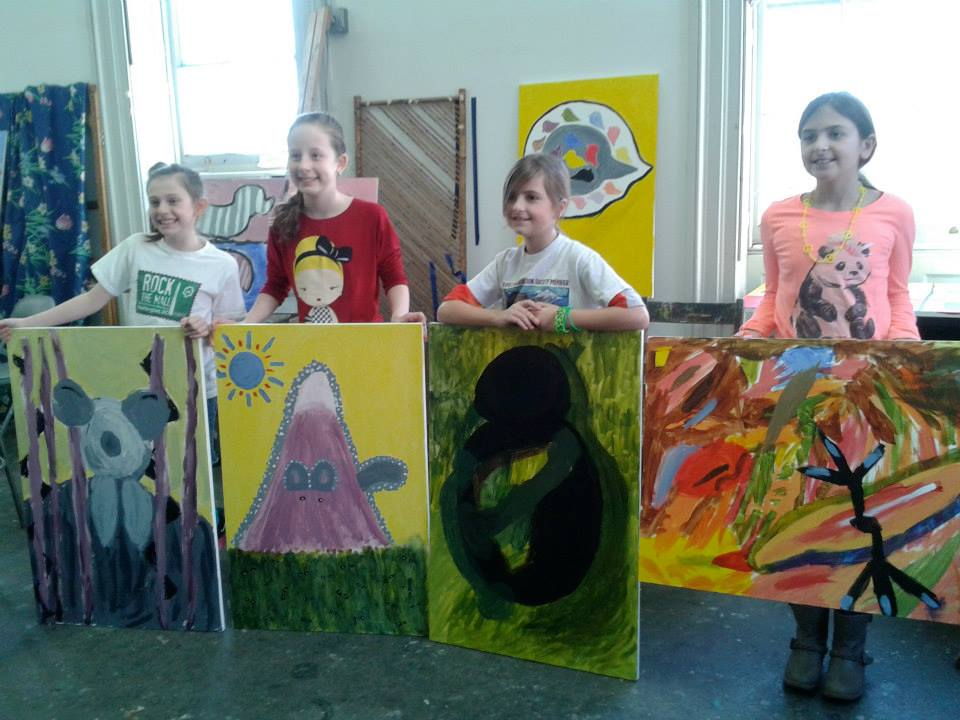 young artists section - large canvas painting students
