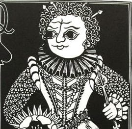Detail of Queen of Spades, a lino-cut by Instructor, Sage Reynolds